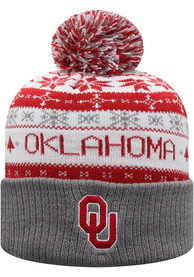 Oklahoma Sooners Top of the World Ugme Holiday Sweater Cuff Pom Knit - Crimson