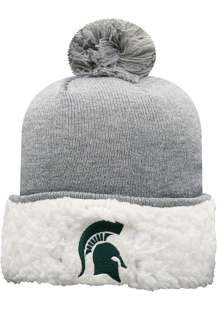 Top of the World Michigan State Spartans Grey Snugs Sherpa Cuff Pom Womens Knit Hat - Image 1
