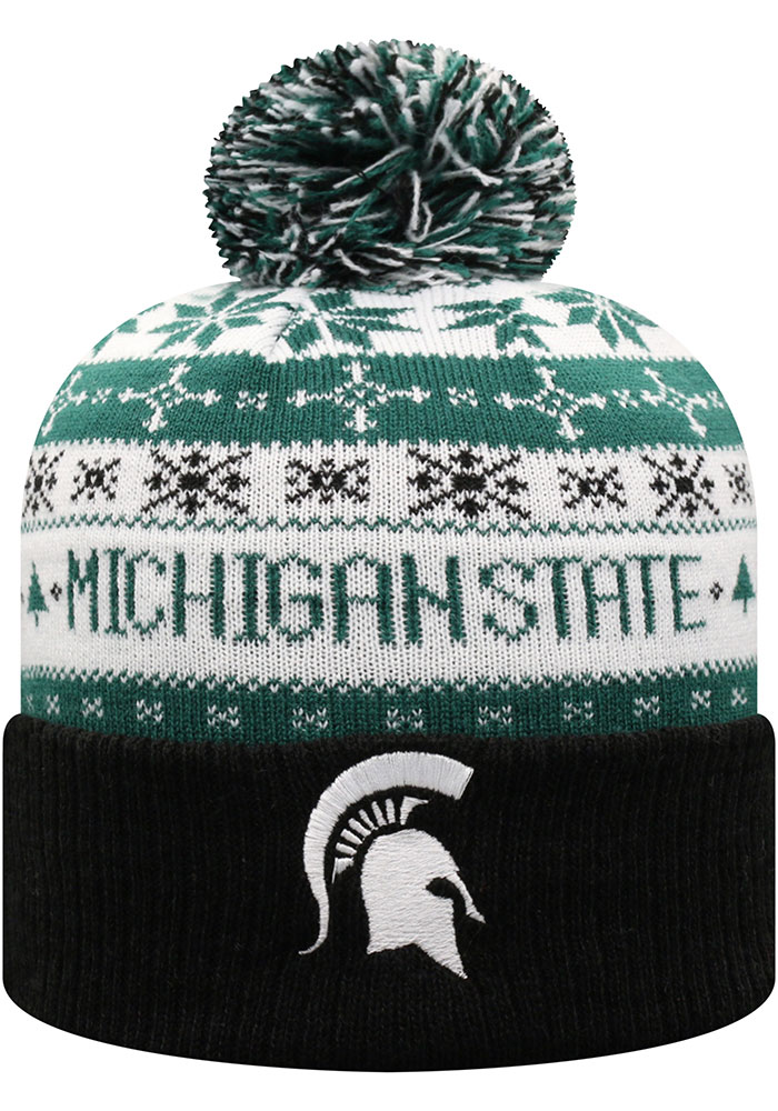 Michigan State Spartans Top of the World Ugme Holiday Sweater Cuff Pom Knit - Green