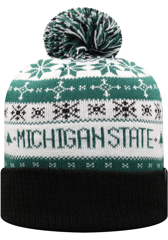 Top of the World Michigan State Spartans Green Ugme Holiday Sweater Cuff Pom Mens Knit Hat - Image 2
