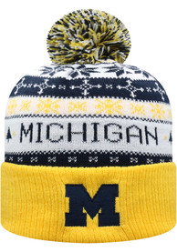 Michigan Wolverines Top of the World Ugme Holiday Sweater Cuff Pom Knit - Navy Blue