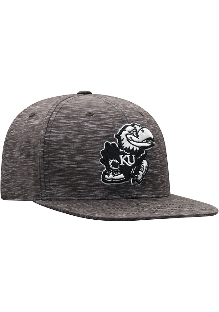 Top of the World Kansas Jayhawks Mens Black Gritty One-Fit Flex Hat - Image 2