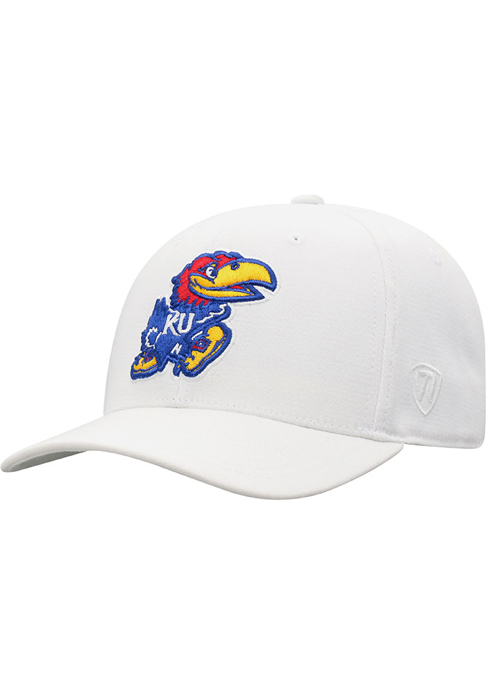 Top of the World Kansas Jayhawks Mens White Premium Collection One-Fit Flex Hat - Image 1