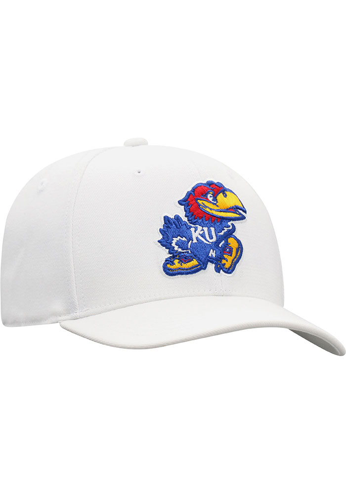 Top of the World Kansas Jayhawks Mens White Premium Collection One-Fit Flex Hat - Image 2