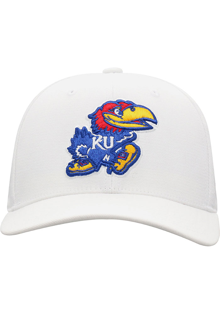 Top of the World Kansas Jayhawks Mens White Premium Collection One-Fit Flex Hat - Image 3