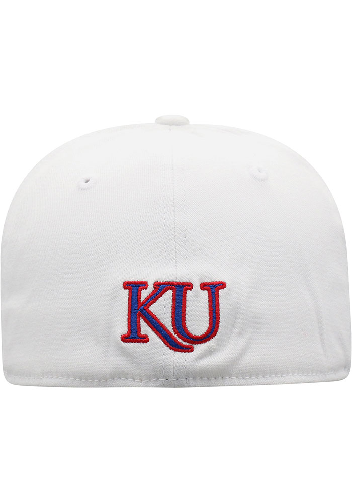 Top of the World Kansas Jayhawks Mens White Premium Collection One-Fit Flex Hat - Image 4