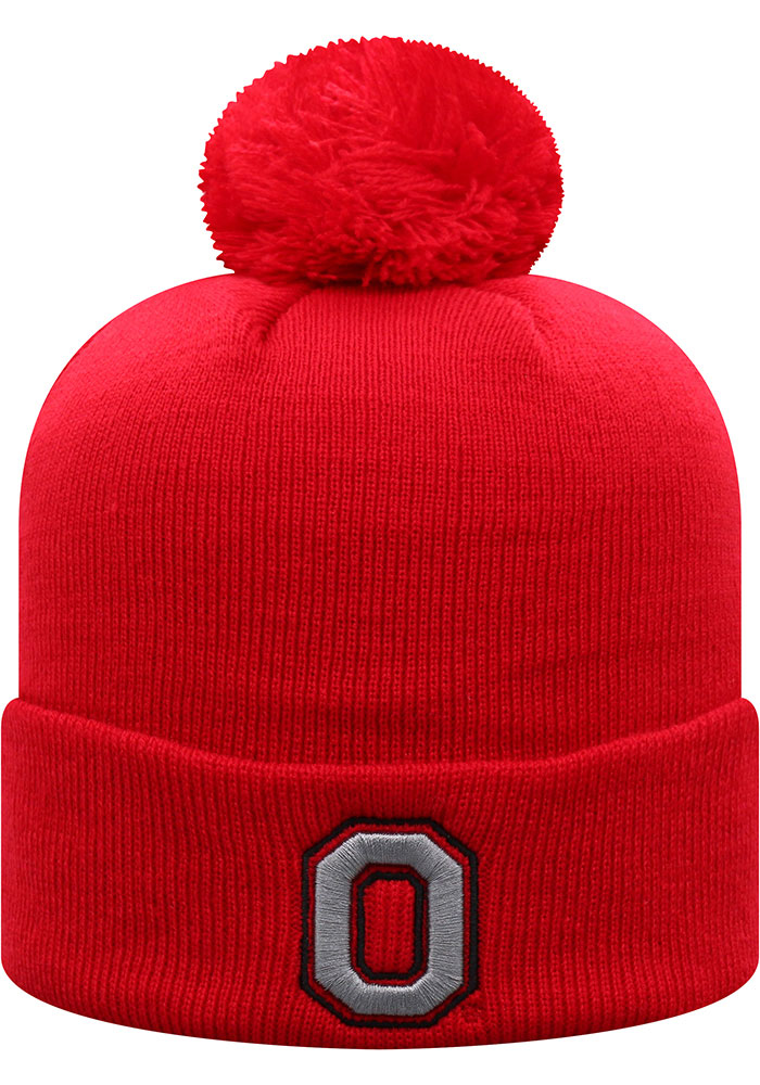 Top of the World Ohio State Buckeyes Red TOW Cuff Pom Mens Knit Hat - Image 1