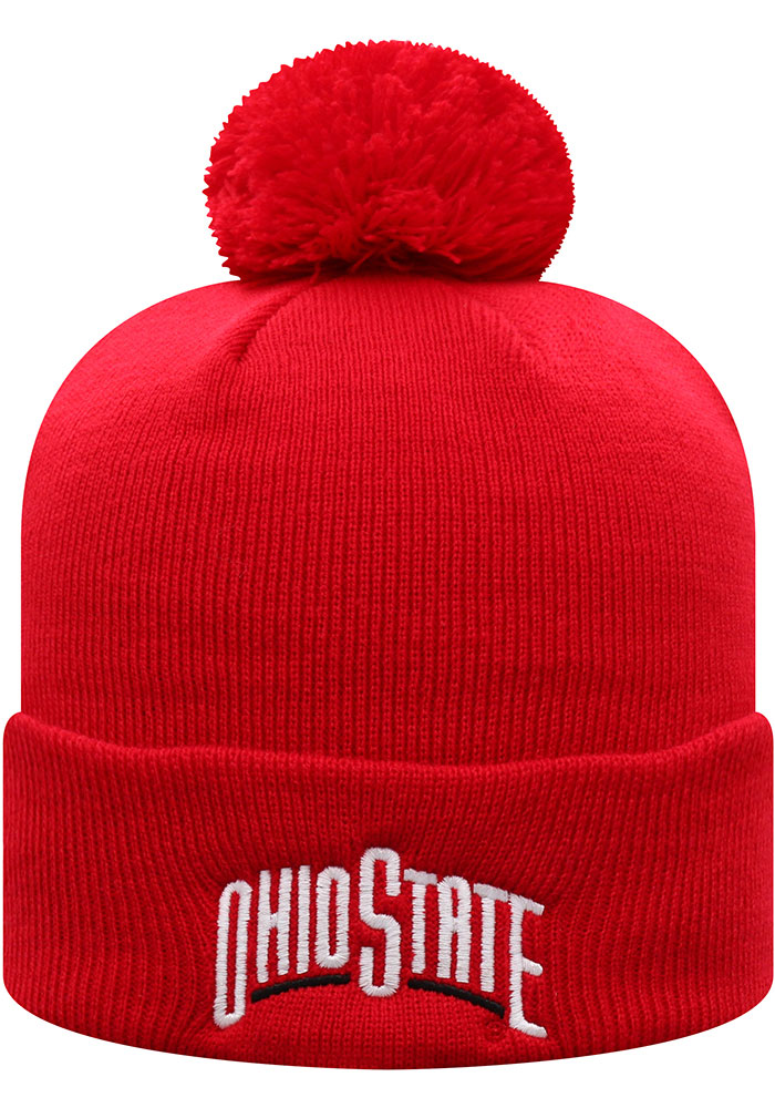 Top of the World Ohio State Buckeyes Red TOW Cuff Pom Mens Knit Hat - Image 2