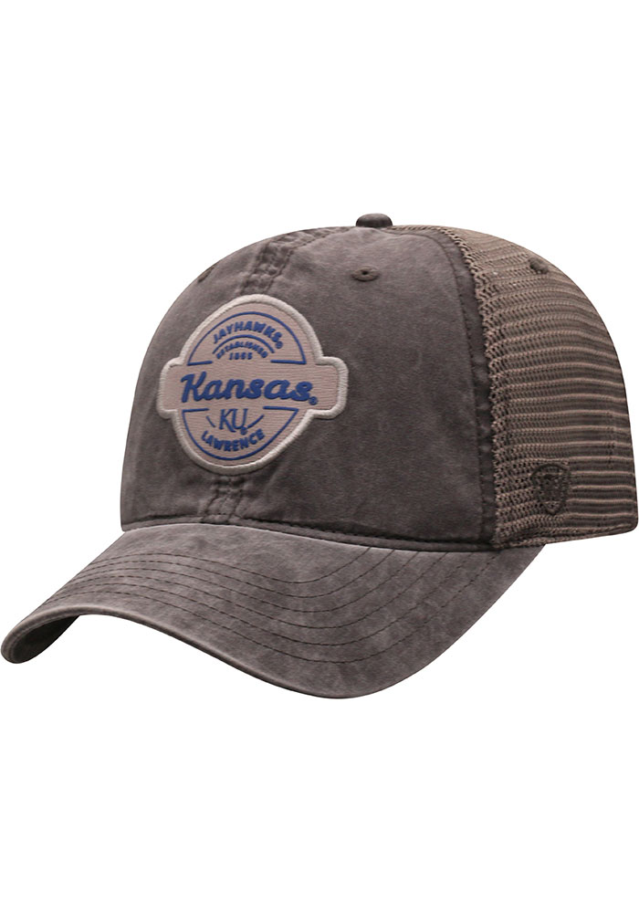 Top of the World Kansas Jayhawks Ominous Adjustable Hat - Grey - Image 1