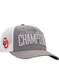 Oklahoma Sooners Top of the World 2020 Big 12 Conference Champions Locker Room Adjustable Hat - Grey