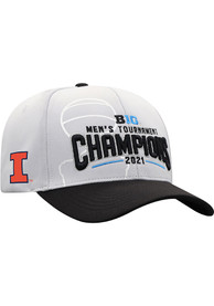 Illinois Fighting Illini 2021 Conference Tournament Champs Adjustable Hat - Grey