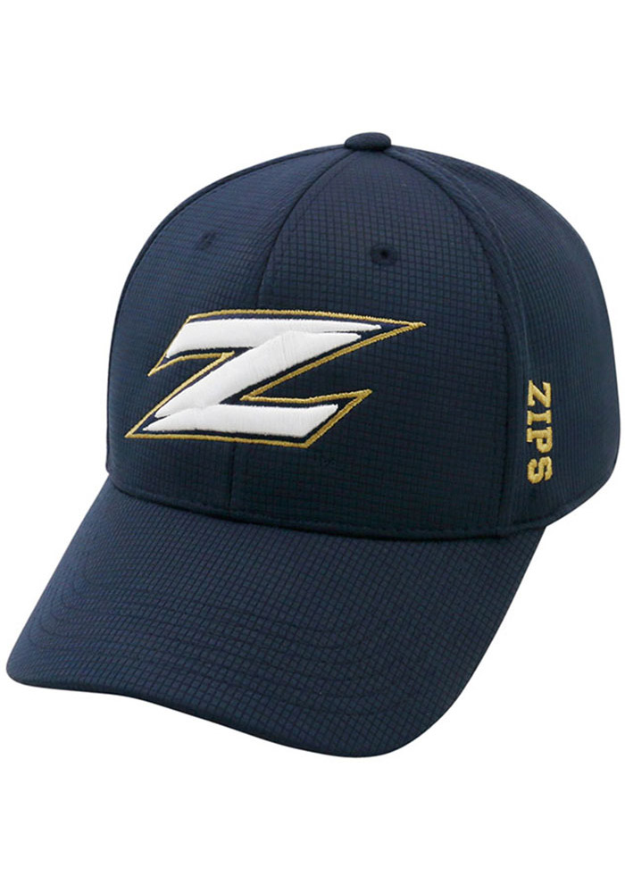 Top of the World Akron Zips Mens Navy Blue Booster Plus Flex Hat - Image 1