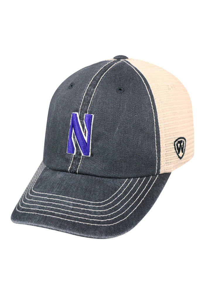 Top of the World Northwestern Wildcats Mens Black Vintage Mesh Adjustable Hat - Image 1