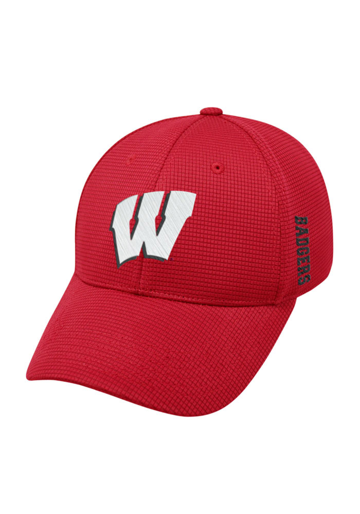 Top of the World Wisconsin Badgers Mens Red Booster Plus Flex Hat - Image 1