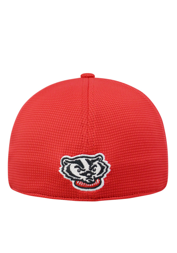 Top of the World Wisconsin Badgers Mens Red Booster Plus Flex Hat - Image 2
