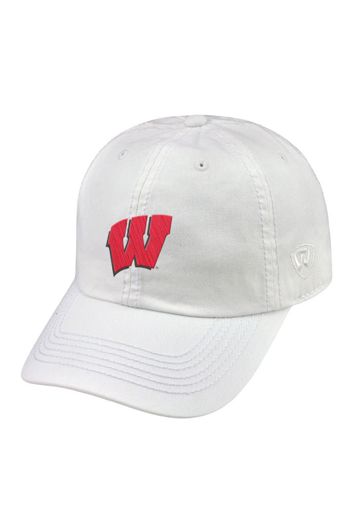 Top of the World Wisconsin Badgers Mens White Crew Adjustable Hat - Image 1