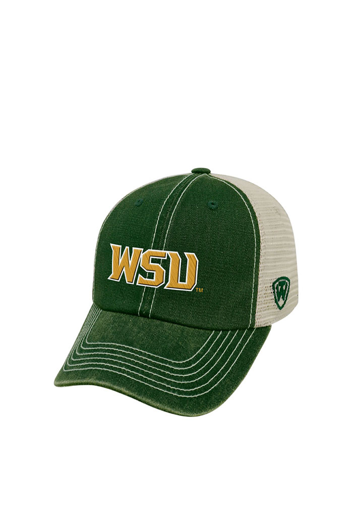 Top of the World Wright State Raiders Mens Green Vintage Mesh Adjustable Hat - Image 1