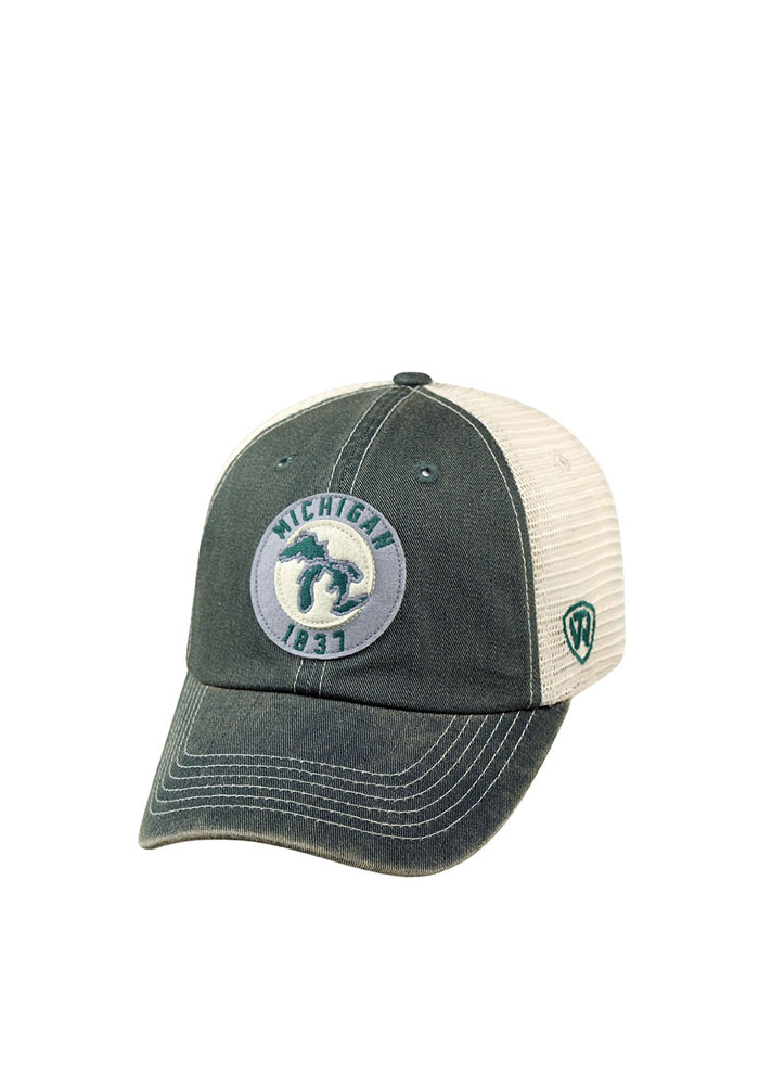 Top of the World Michigan Mens Green Dirty Mesh Adjustable Hat - Image 1