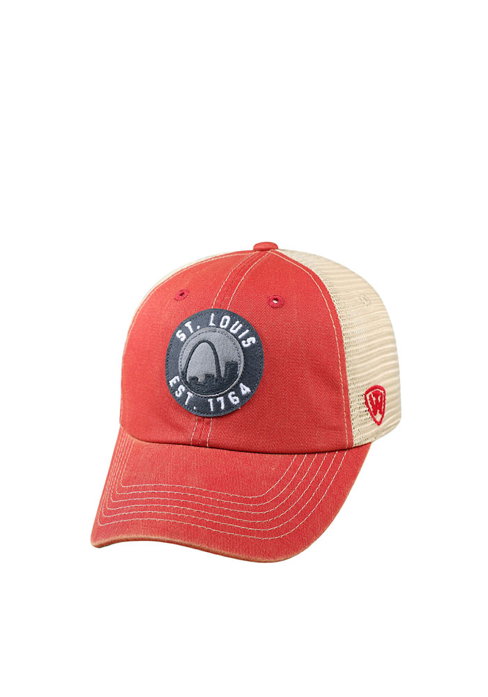 Top of the World St Louis Mens Red Dirty Mesh Adjustable Hat - Image 1