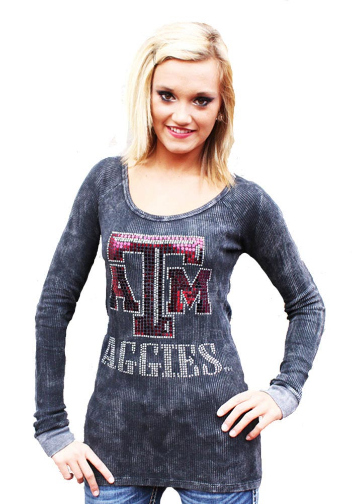 Gameday Couture Texas A&M Juniors Grey Sequin Thermal Long Sleeve Scoop Neck - Image 1