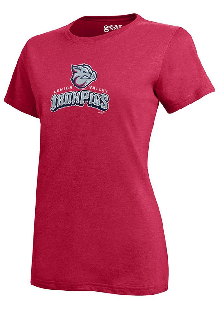 Lehigh Valley Ironpigs Womens Red Mia Short Sleeve Crew T-Shirt - Image 1