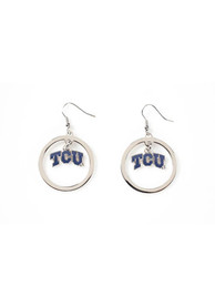TCU Horned Frogs Womens Floating Hoop Earrings - Silver