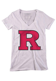 Rutgers Scarlet Knights Womens White Large Logo T-Shirt