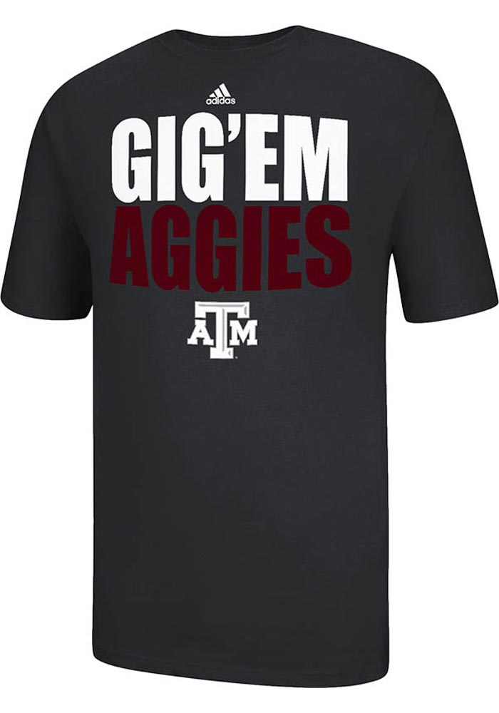 Adidas Texas AM Aggies Black GigEm Aggies Short Sleeve T Shirt - Image 1
