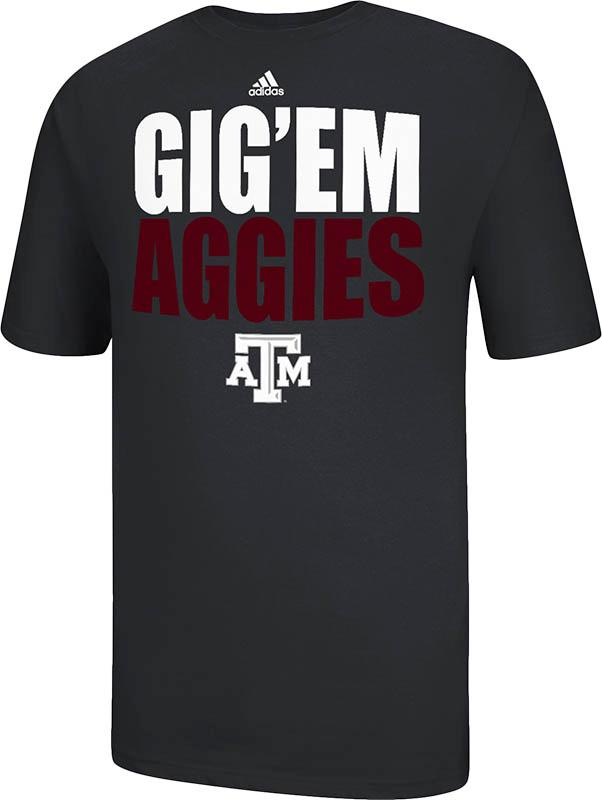 Adidas Texas AM Aggies Black GigEm Aggies Short Sleeve T Shirt - Image 2