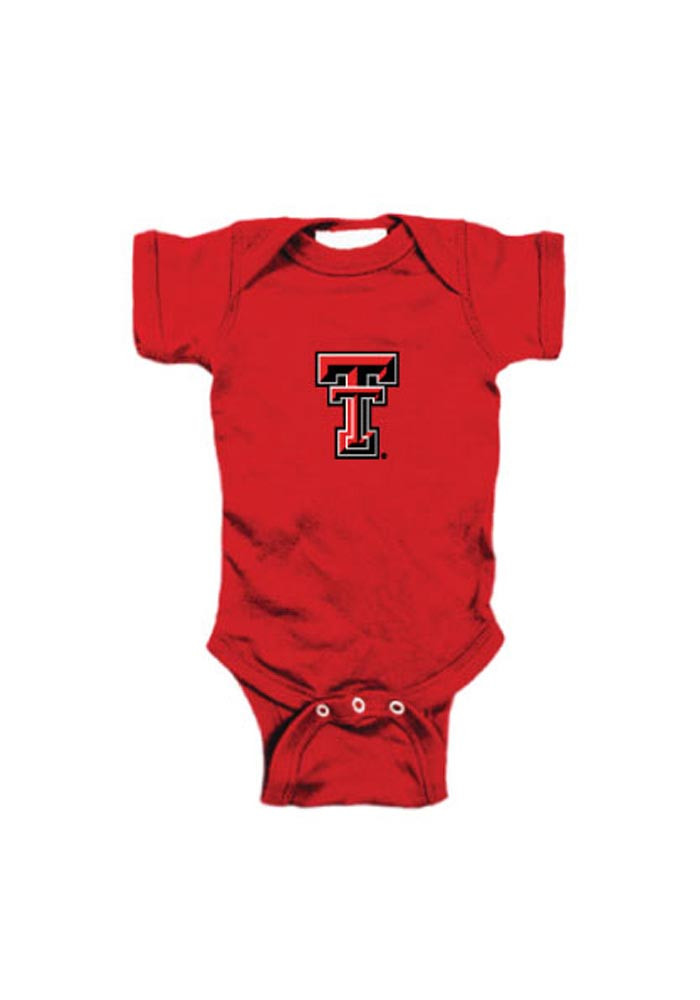 Texas Tech Red Raiders Baby Red Embroidered Logo Short Sleeve Creeper - Image 1