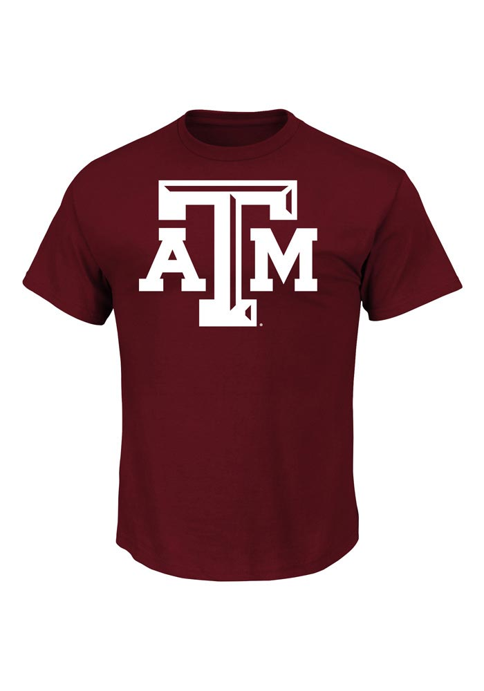 Majestic Texas A&M Aggies Maroon Big Logo Short Sleeve T Shirt - Image 1