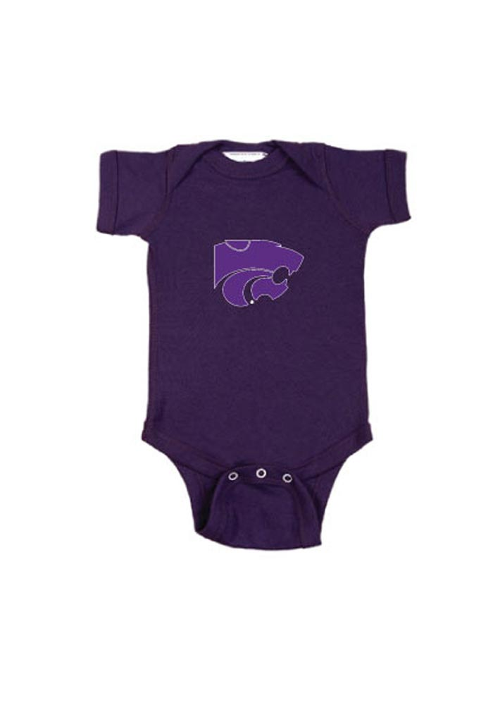 K-State Wildcats Baby Purple Embroidered Logo Short Sleeve One Piece - Image 1