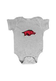 Arkansas Razorbacks Baby Grey Embroidered Logo One Piece