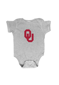 Oklahoma Sooners Baby Grey Embroidered Logo One Piece