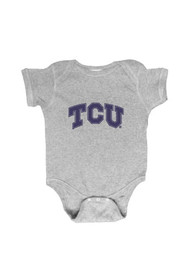 TCU Horned Frogs Baby Grey Embroidered Logo One Piece