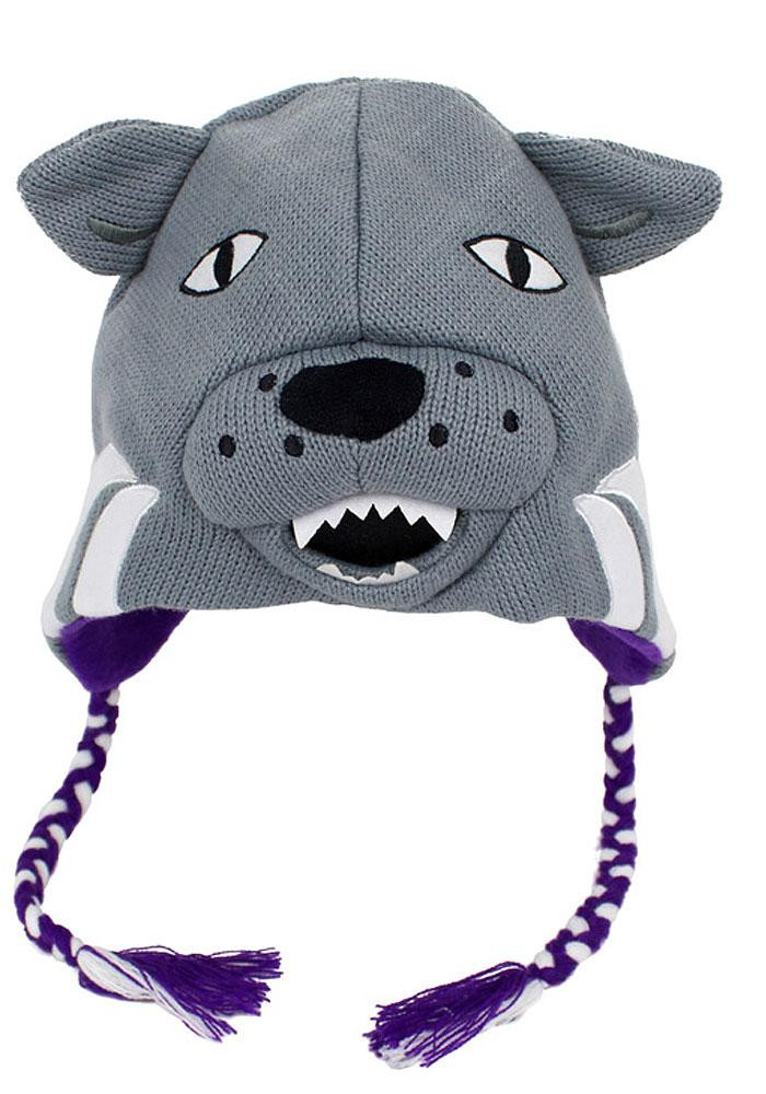 K-State Wildcats Grey Mascot Mens Knit Hat - Image 1
