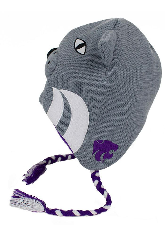 K-State Wildcats Grey Mascot Mens Knit Hat - Image 2