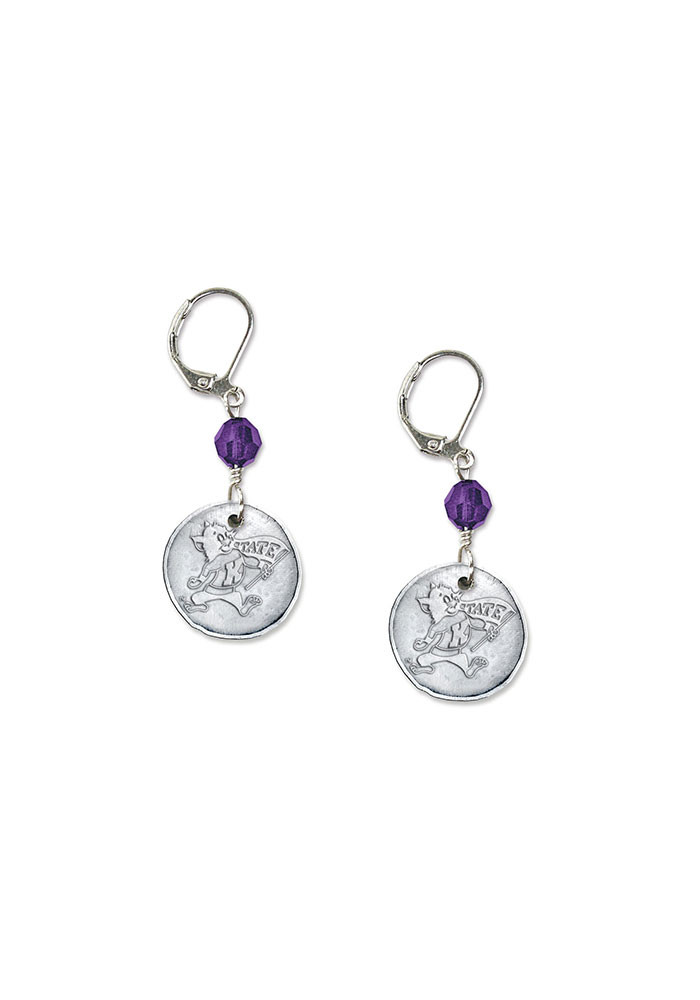 K-State Wildcats White Copper Womens Earrings - Image 1