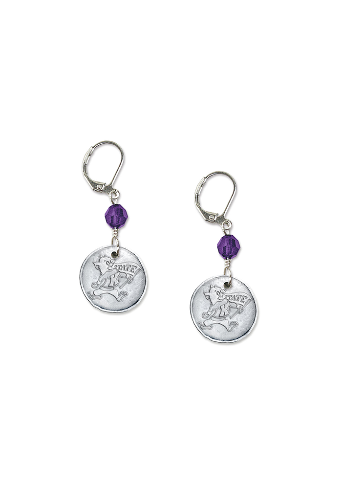 K-State Wildcats White Copper Womens Earrings - Image 2