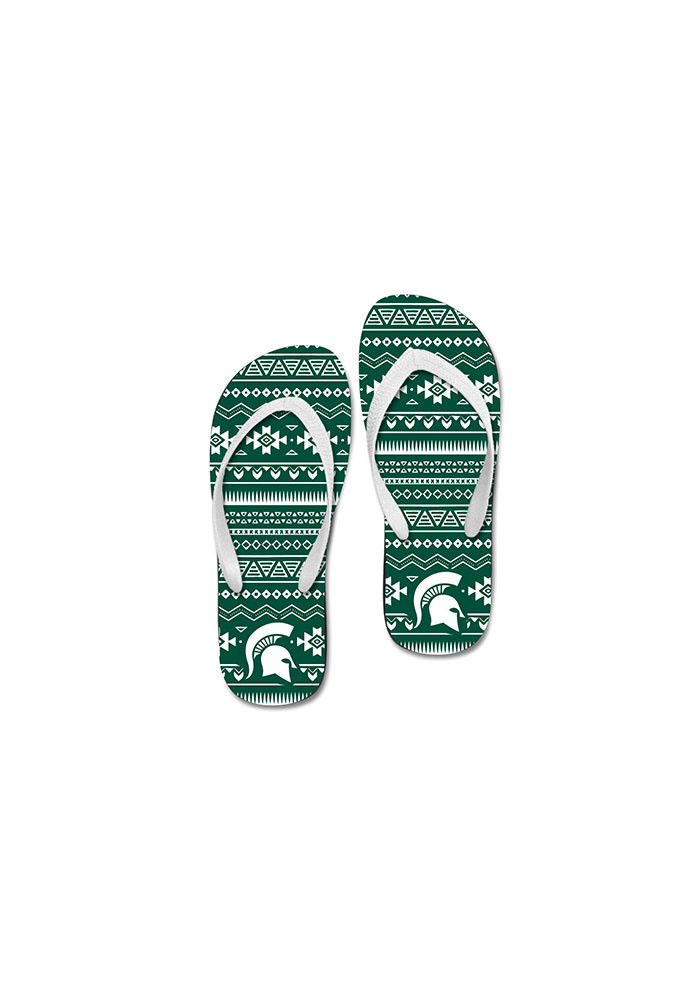 Michigan State Spartans Tribal Womens Flip Flops - Image 1