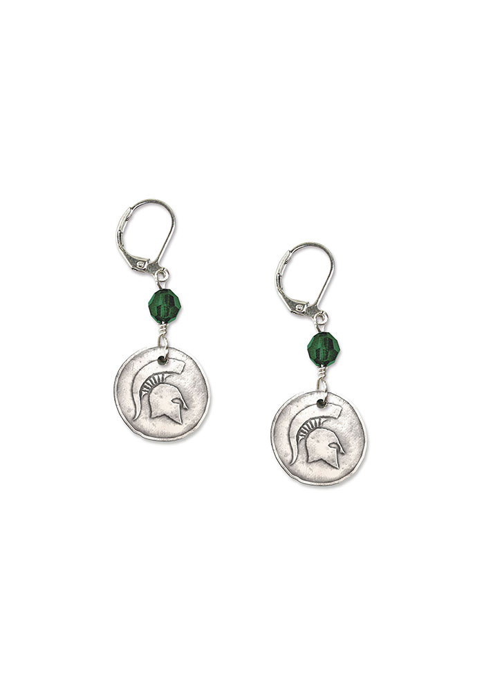 Michigan State Spartans Womens White Copper Earrings - White
