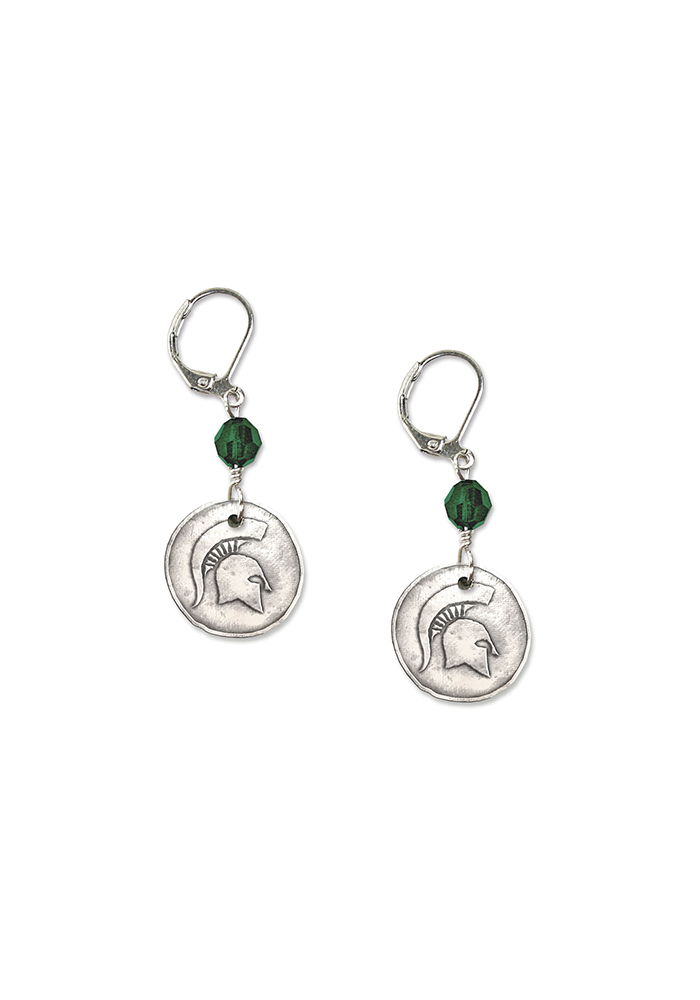 Michigan State Spartans White Copper Womens Earrings - Image 2