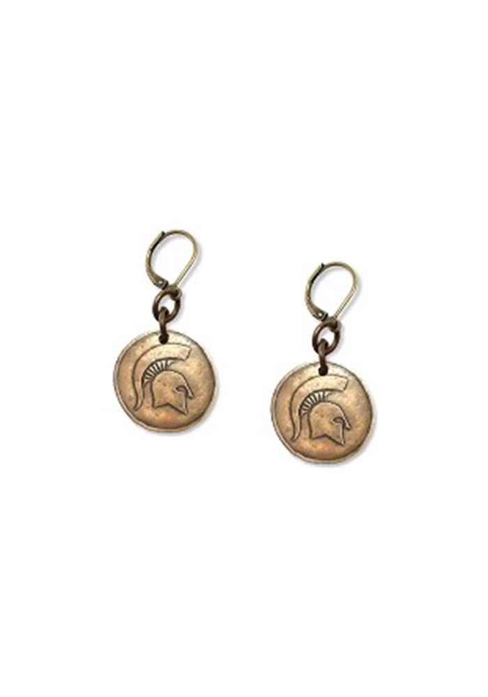 Michigan State Spartans Womens Antique Bronze Earrings - Silver