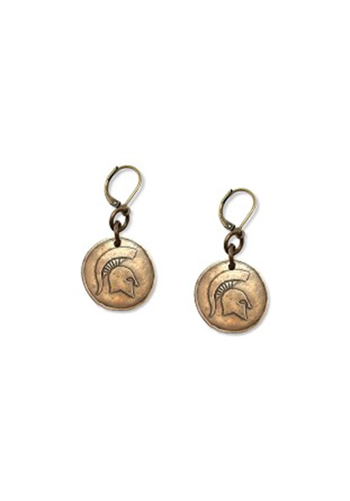 Michigan State Spartans Antique Bronze Womens Earrings - Image 2