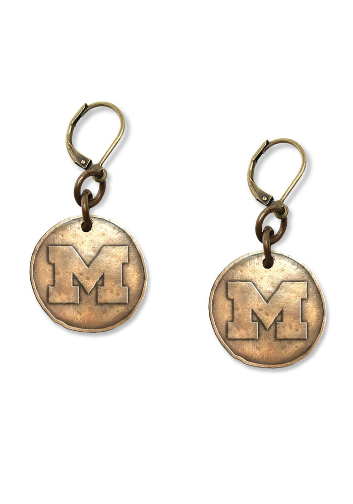 Michigan Wolverines Antique Bronze Womens Earrings - Image 1
