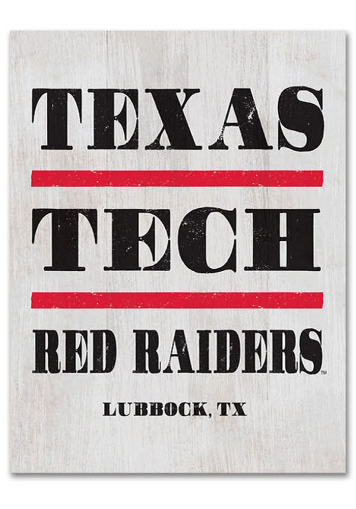 Texas Tech Red Raiders Large Rectangle Block Sign - Image 1