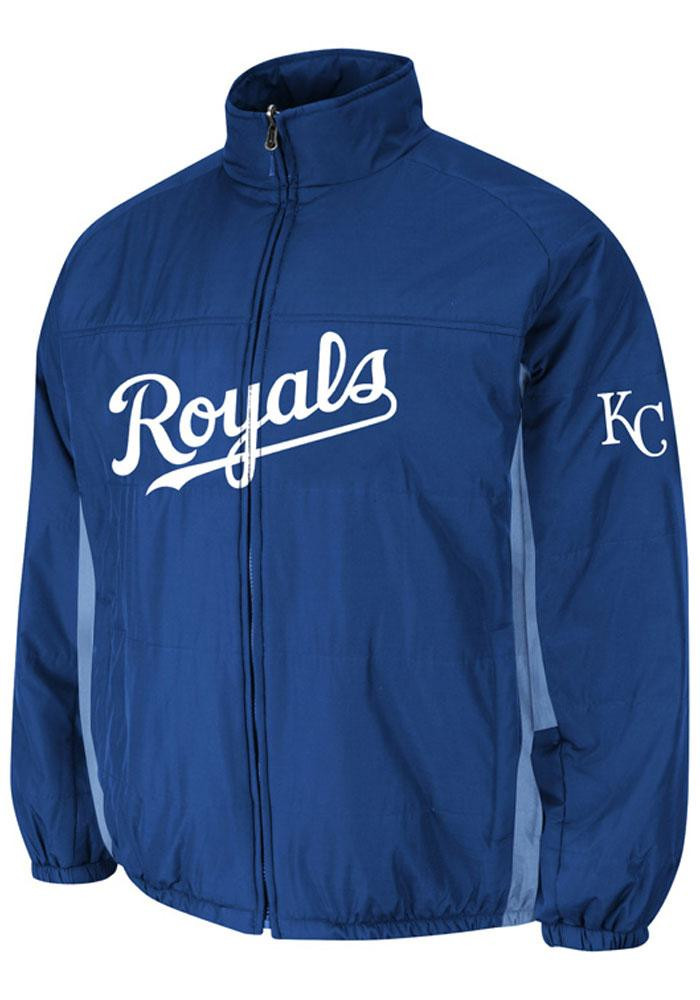 Majestic Kansas City Royals Mens Blue On-Field Double Climate Heavyweight Jacket - Image 1