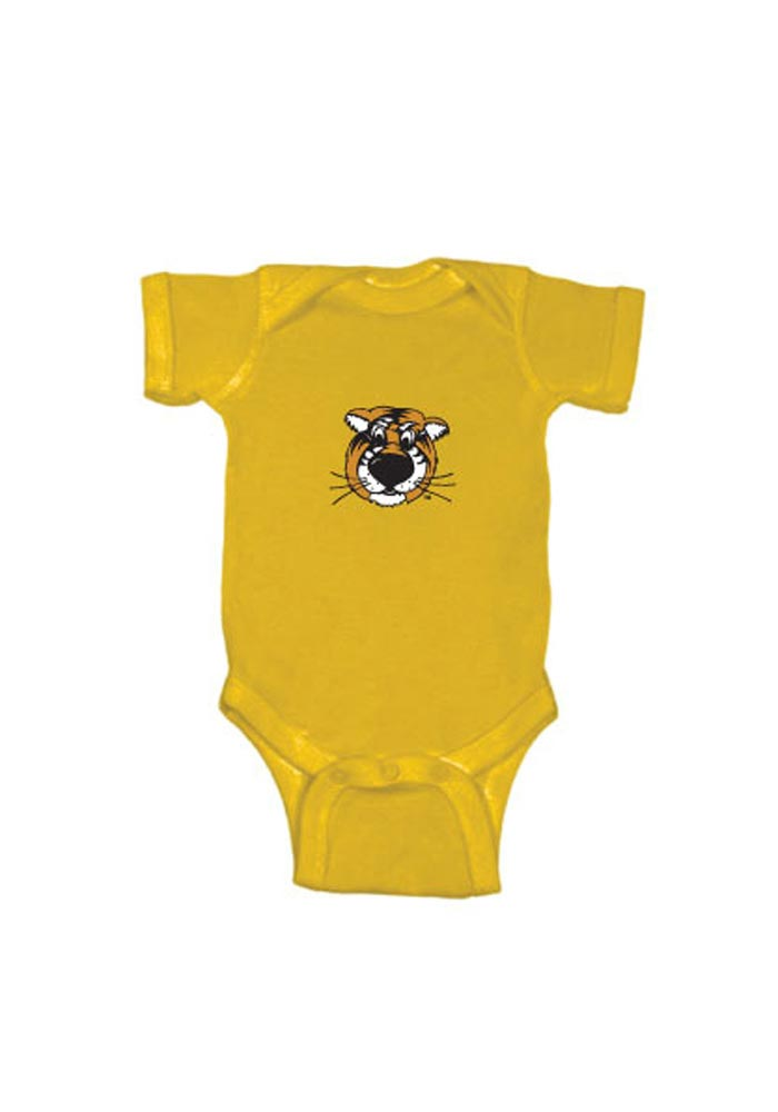 Missouri Tigers Baby Gold Embroidered Logo Short Sleeve One Piece - Image 1