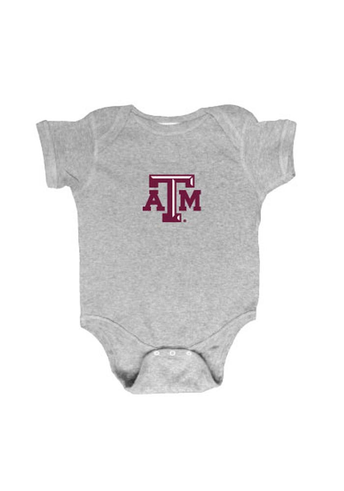 Texas A&M Aggies Baby Grey Embroidered Logo Short Sleeve One Piece - Image 1