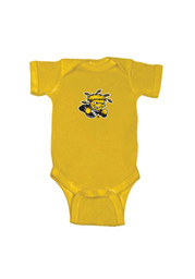 Wichita State Shockers Baby Gold Embroidered Logo Short Sleeve One Piece